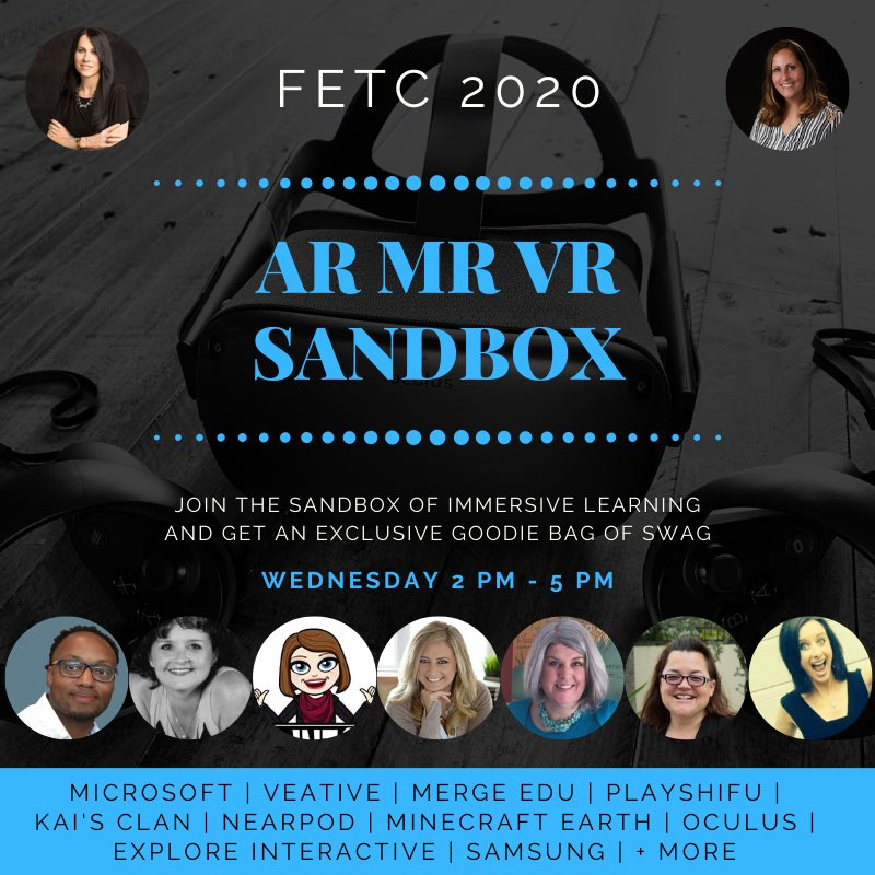 The #AR #MR #VR Sandbox is starting in 1 hour!! Join us near 5100 in the expo hall. #FETC