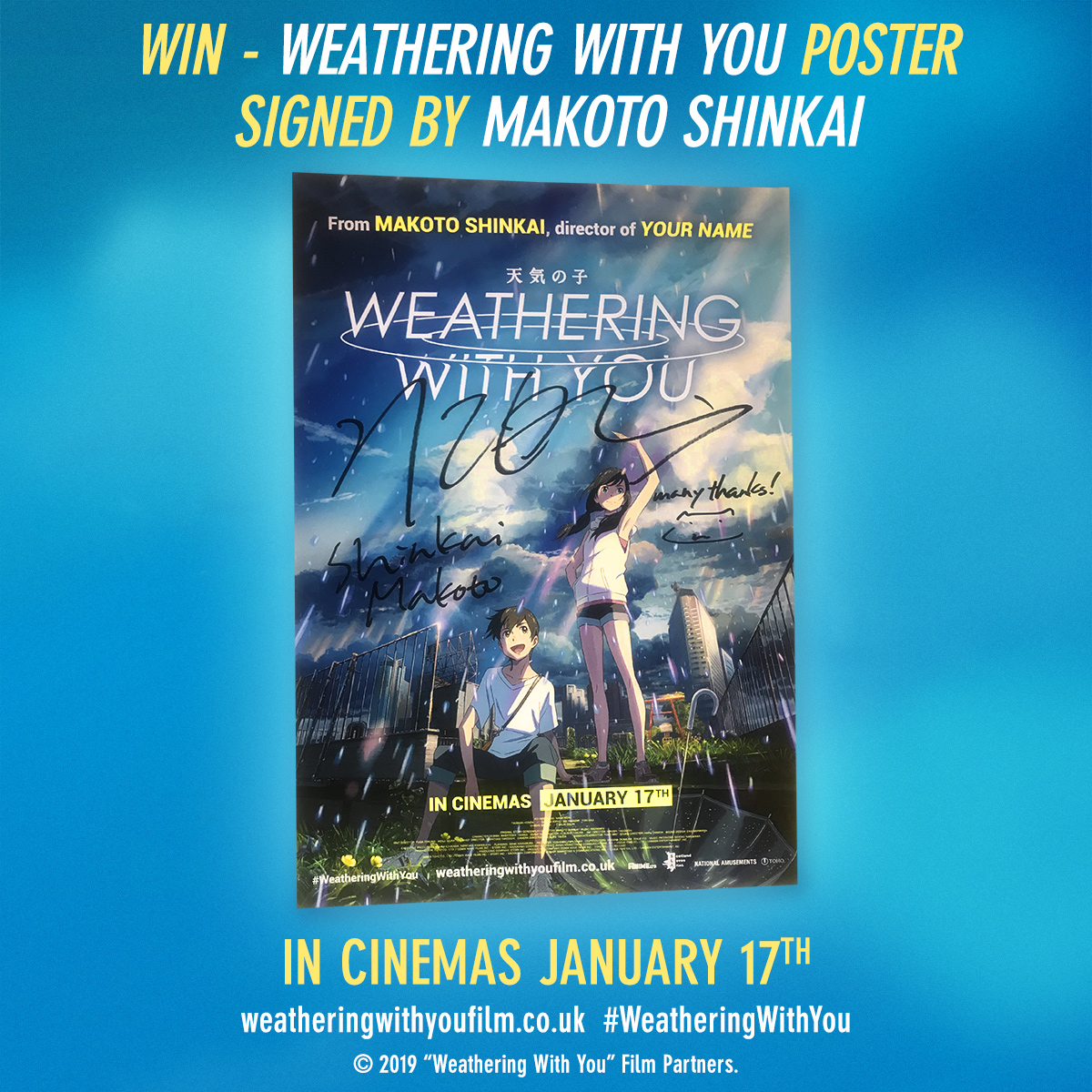 All The Anime On Twitter Tonight S A Shinkai Double Bill We Ve Fallen For Yourname And Weatheringwithyou And To Celebrate We Are Giving You The Chance To Win A Signed Weathering With You
