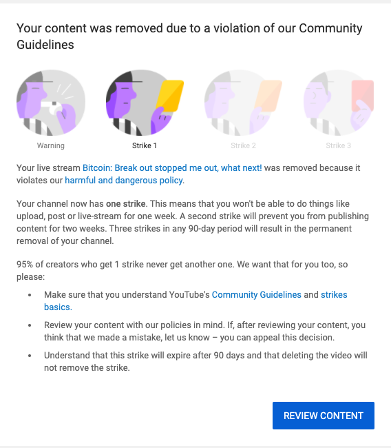 So I got a strike today @TeamYoutube on my last live stream.  This is clearly an error and with the strike, I am unable to stream or upload videos.   Please LIKE & RETWEET to help reopen my YouTube channel.