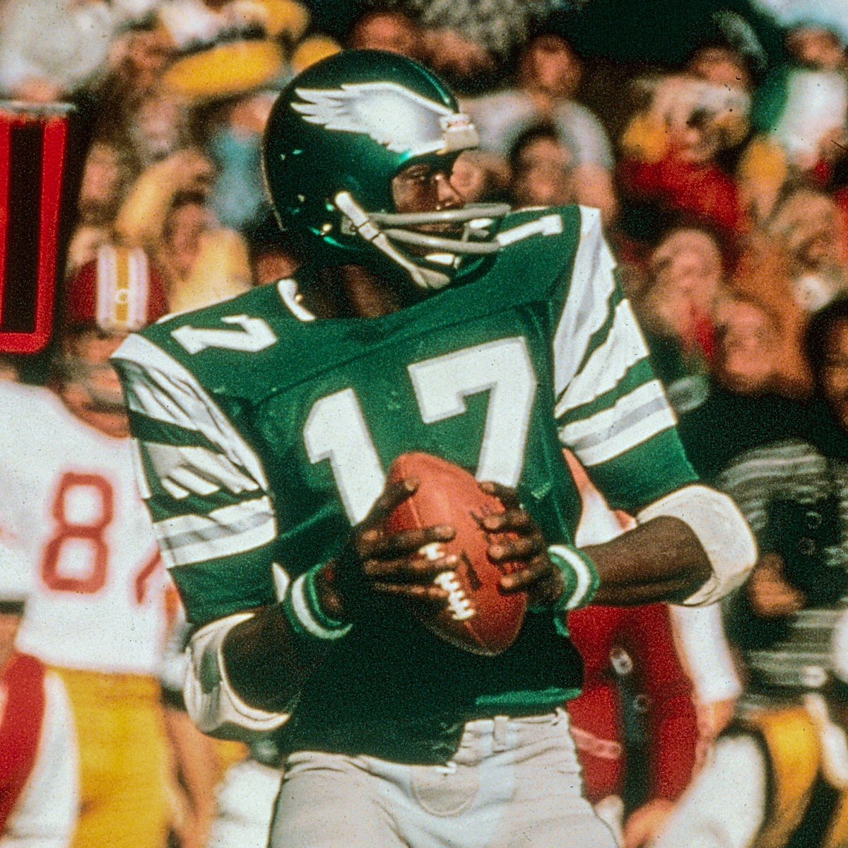 In addition to setting a then-NFL record with 127 consecutive games with a reception from 1972-1980, Harold Carmichael led all NFL wide receivers in receptions (549), receiving yards (8,414), and receiving TDs (77) from 1973-83.  #FlyEaglesFly