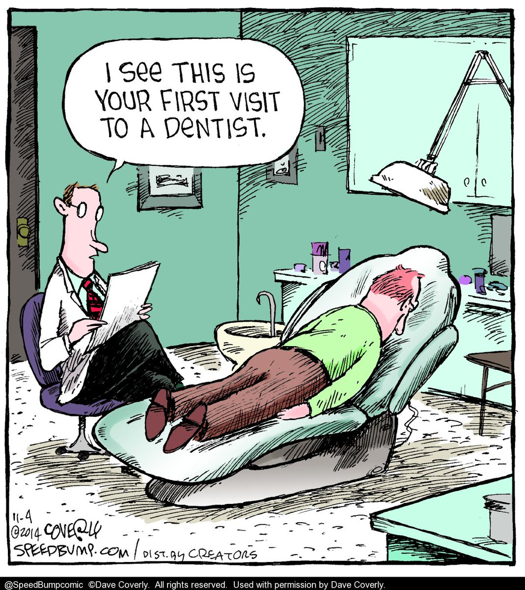 Putting a good face on itBy @speedbumpcomic #Dentist #DentistAppointment #DentalAppointment#DentalCartoons