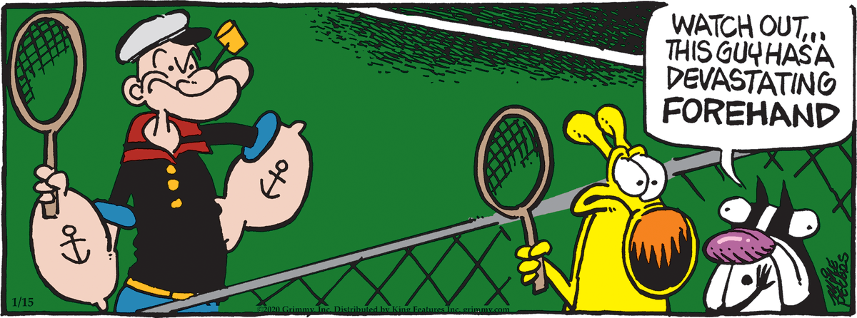 👑 Comic of the Day by Mother Goose & Grimm (@mikebpeters) 👑 Take your bets! Who's going to win this match? 🎾To read more comics from Mother Goose & Grimm, check out Comics Kingdom: https://www.comicskingdom.com/mother-goose-grimm…#comics #comicstrips #illustrations #drawings #ComicoftheDay