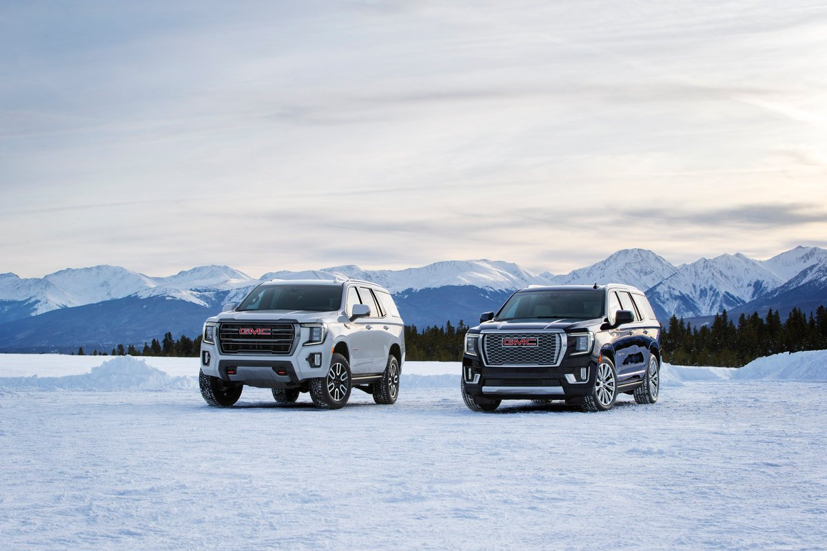 "Well, hello there! Meet the 2021 GMC Yukon Denali and AT4! The new Yukon promises class-leading technology like Independent Rear Suspension, 15"" heads-up display, and a heck of a lot more! #GMCYukon https://t.co/IwfqRF1pR7"
