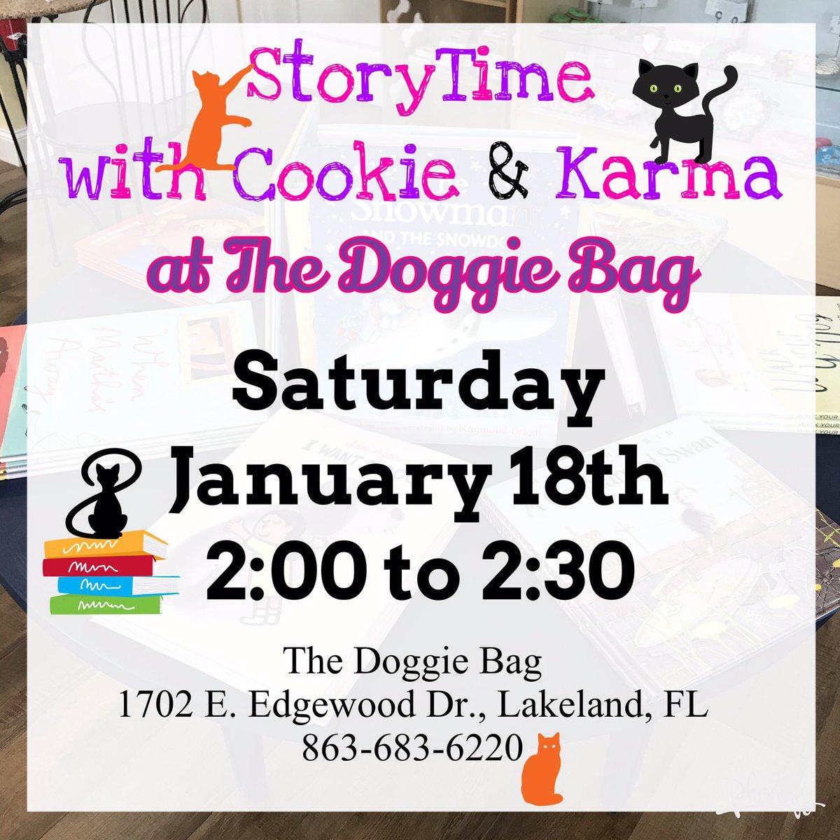 StoryTime with Cookie & Karma at The Doggie Bag... This Saturday!  #storytime #cookiethecat #karmathecat #shopcats #toddler #preschooler #childrensbooks #kidsbooks #lakelandmoms #thedoggiebag #lakelandflorida #lakelandfl #lakelandeventspic.twitter.com/hGbzQMmdeL