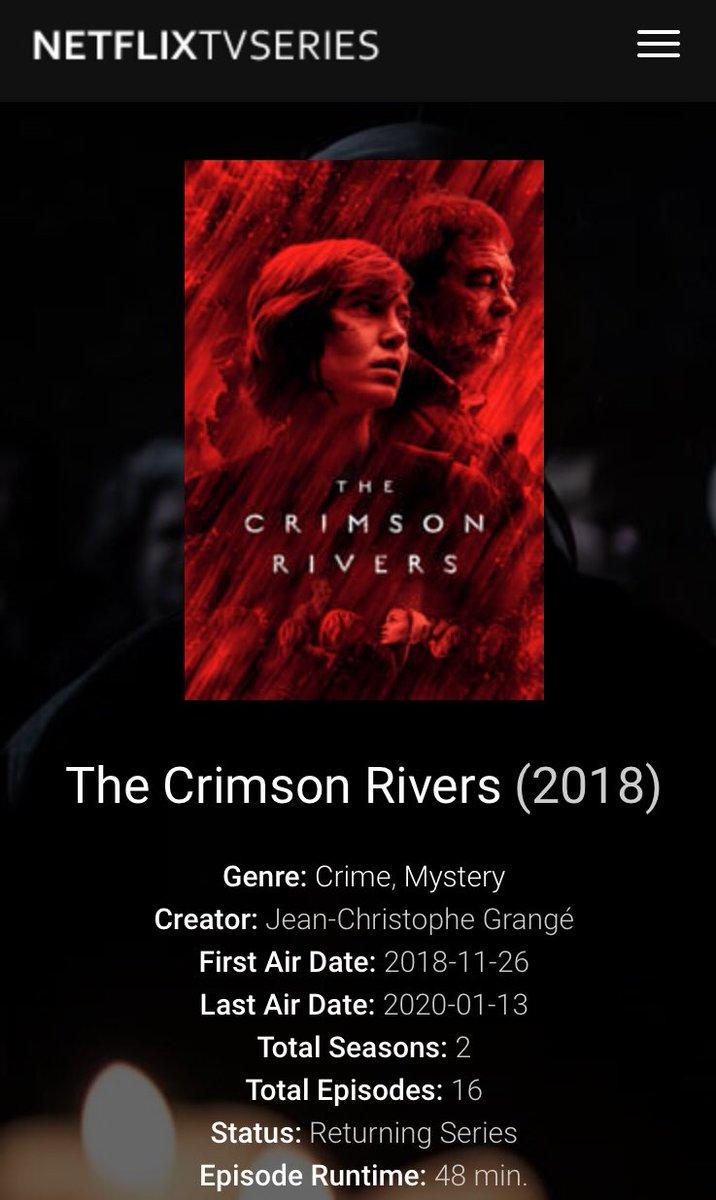1 season of THE CRIMSON RIVERS is streaming on Netflix now.  #thecrimsonrivers #diepurpurnenflüsse #lesrivierespourpres #france2 #zdf #zdfenterprises #oliviermarchal #erikasainte #kenduken #norawaldstätten #storiatv #netflix<br>http://pic.twitter.com/jv18P9bqiq