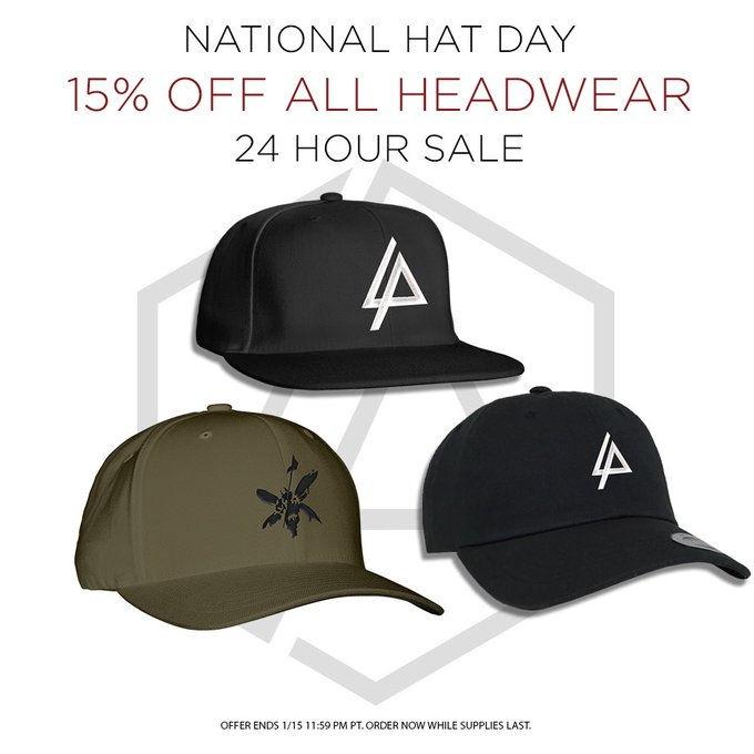 's Media: To celebrate #NationalHatDay, all hats in the Linkin Park store are 15% off.  Shop now: https://t.c