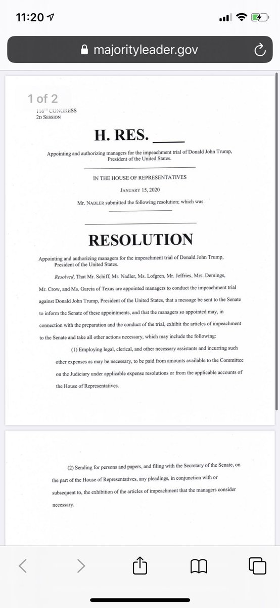 Here's the text of the resolution the House will adopt to name the impeachment managers