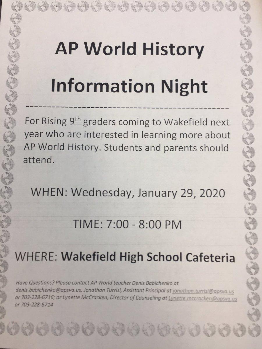 Wakefield AP World History Night <a target='_blank' href='https://t.co/8S3szGnmdK'>https://t.co/8S3szGnmdK</a>