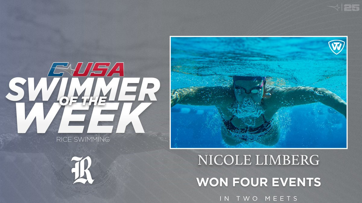 📢: Congratulations to @RiceSwimming's Nicole Limberg, #CUSASWIM Swimmer of the Week presented by @towbrand! 🏊‍♀️ 🏅1️⃣ | #TheCUSAWay