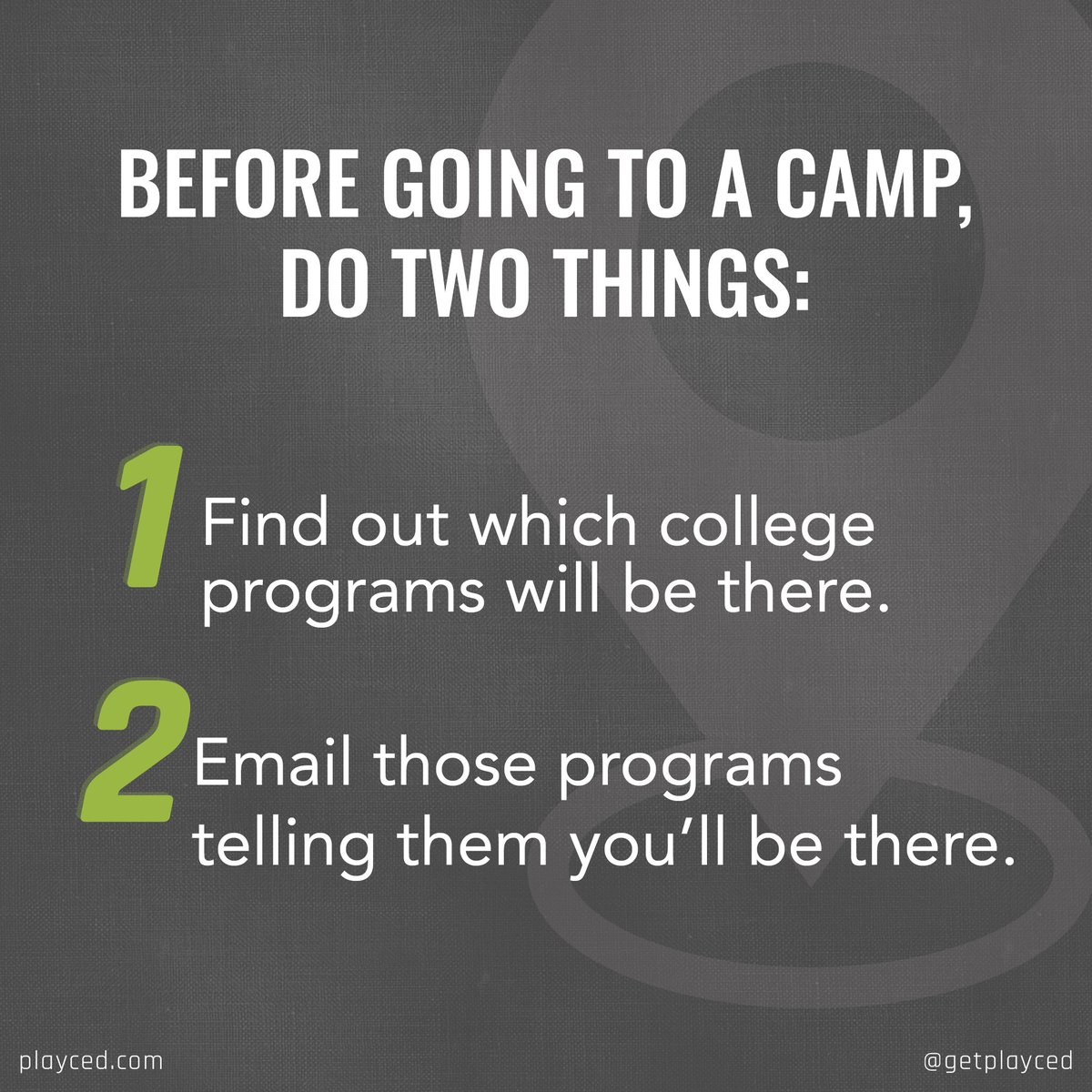 Going to a camp to get exposure? Make sure you do 1 and 2. If coaches aren't there, don't waste your $$$. Attend camps where coaches can get their eyeballs on you and let them know you'll be there! #plan2play #getplayced #recruitingtip #collegerecruiting #highschoolathletepic.twitter.com/f8mdNmcCTF