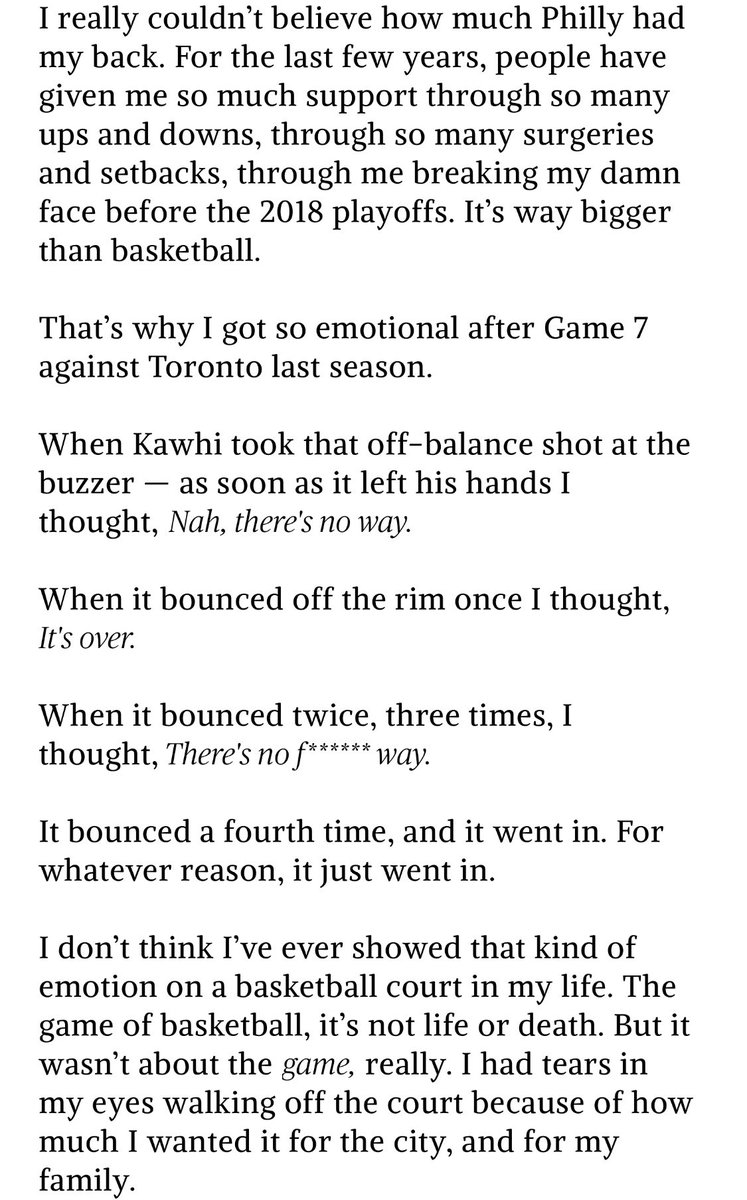 """This Joel article by players tribune is fantastic and offers a ton of great quotes from jojo about the kawhi shot, memes, his brother Arthur's passing, but my favorite part  """"I'm trying to win a f—-ing title."""""""