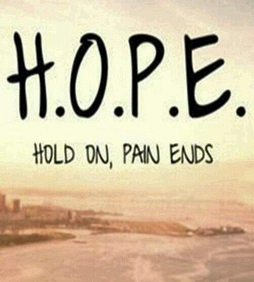 HOPE - Hold On. Pain Ends. . #hopeinGod #GodIsHope #hopeforthebest #dontlosehope #nevergiveuphope #neverlosehope #neverlosefaith #hope #hopeful #hopeforleukemia #EPCALMadultleukemiafoundation #leukemiaawareness<br>http://pic.twitter.com/vvJNEzNols