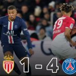 Image for the Tweet beginning: #PSG defeated #ASMonaco 4-1 at
