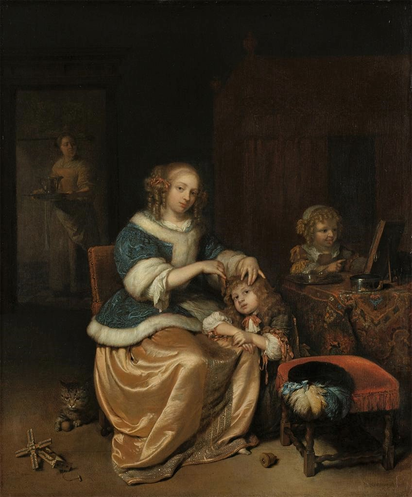Mum combs boy's hair while girl makes faces in mirror. Cat ponders whether to destroy A+ mechanical toy windmill while nobody is paying attention. Happy home life by Caspar Netscher, d. OTD 1684.
