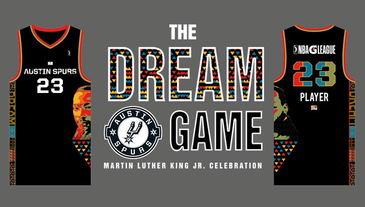 "NEWS: #AustinSpurs to host ""The Dream Game"" in partnership with @Thrivent on Jan. 21  Game-worn jerseys featuring MLK will be signed and auctioned off with net proceeds benefiting @HustonTillotson Athletics. Text ""Spurs"" to 52182 to register.  More info ➡️ http://bit.ly/mlkgame"