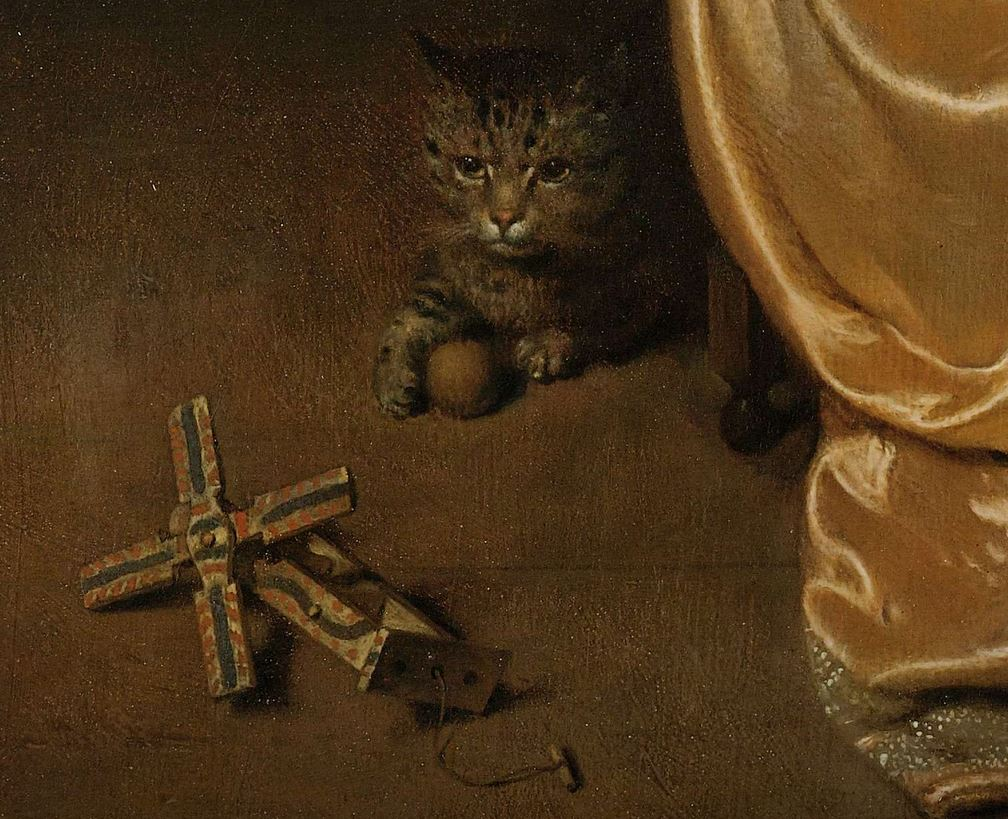 2/2 The cat and the mechanical windmill. Could be the beginning of a great story! All happening down in the corner of Caspar Netscher's painting, 1669.