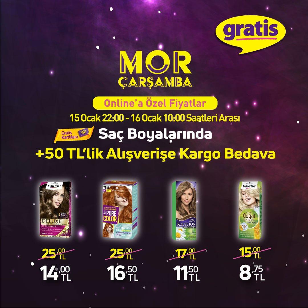 Mor Çarşamba online'a özel fiyatlar başladı! 15 Ocak 22:00 – 16 Ocak 10:00 saatleri arasında Gratis Kart'lılara Saç boyalarında +50 TL'lik alışverişe Kargo Bedava!