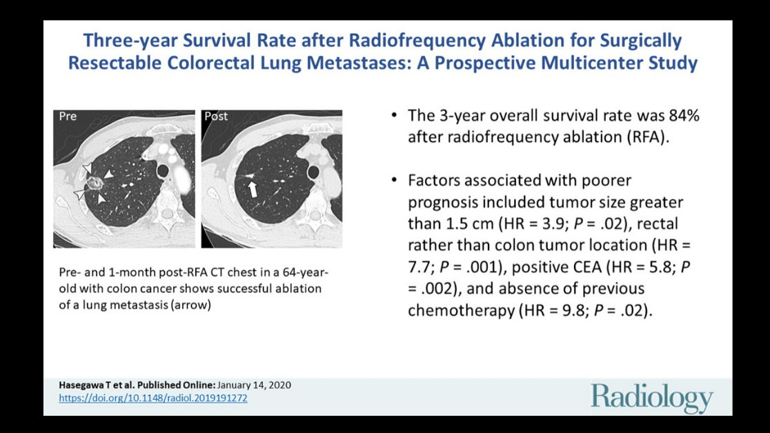 Radiology A Twitter Prospective Multicenter Study Reveals An 84 3 Year Survival Rate With Rfa Of Colorectal Lung Metastases 3 Cm Or Smaller Read More Of The Findings By Hasegawa Et Al Https T Co Jnsdvg4ljo
