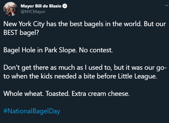 """Mayor de Blasio deleted a tweet in which he described his favorite bagel as """"toasted"""" #bagelgate  <br>http://pic.twitter.com/QfbFMOxXRU"""