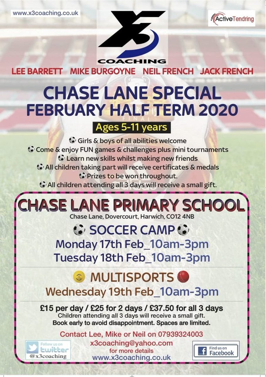 Bookings are now being taken for our Half Term Soccer Camp and Multisport Camp at Chase Lane School. Girls and boys of all abilities are welcome @ChaseLaneSchoolpic.twitter.com/5phmSYddO8