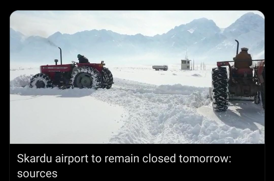 Skardu airport to remain closed tomorrow: sources    #ARYNews <br>http://pic.twitter.com/tac7xtMx8g