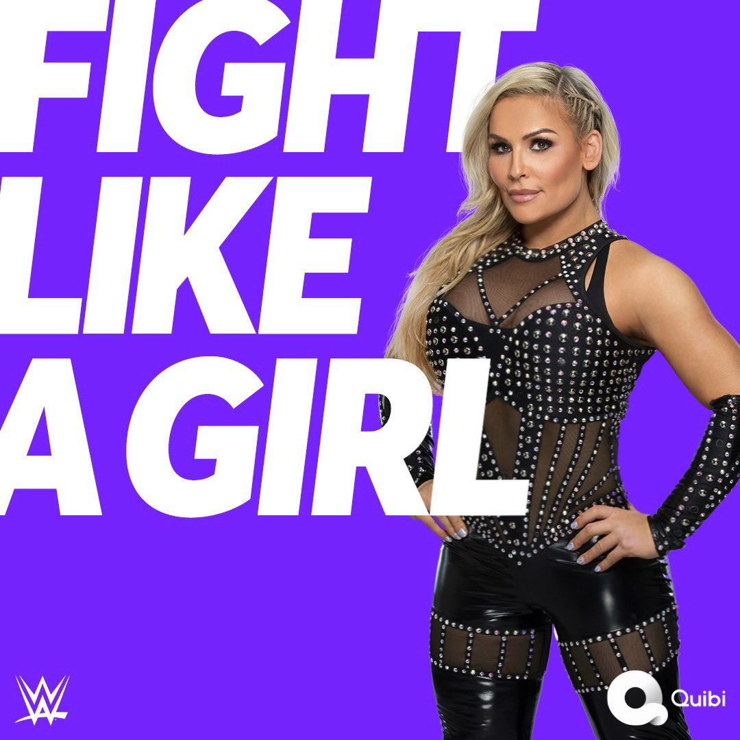 We're setting out to change women's lives forever💜🤍 Join me and our fierce WWE Superstars. #FightLikeAGirl. Only on @Quibi💜🤍