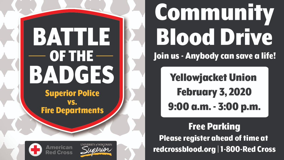UW-Superior is partnering with the American Red Cross, Superior Police Department and Superior Fire Department for the Battle of the Badges Blood Drive! Join us for this special event & register today! https://t.co/DzPqRXdoKj https://t.co/ODBQeG9rCV