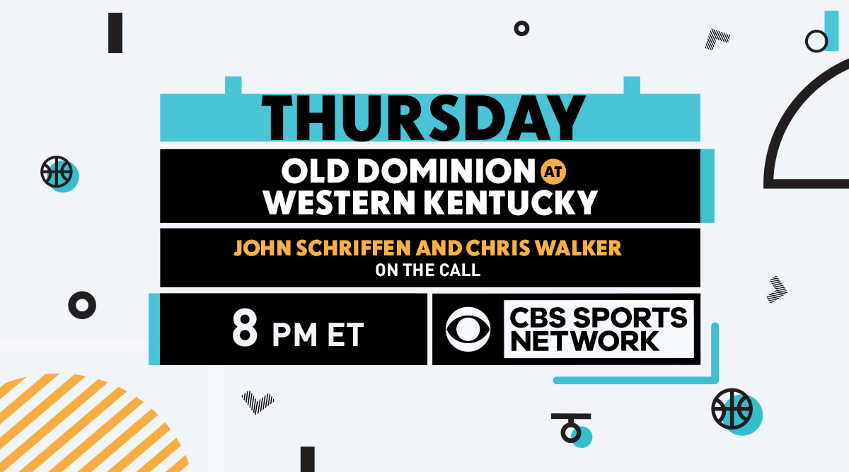Its a Thursday night @ConferenceUSA matchup on @CBSSportsNet! @JohnSchriffen and @CWalkerSports bring you @ODUMensHoops vs. @WKUBasketball at 8 PM ET.