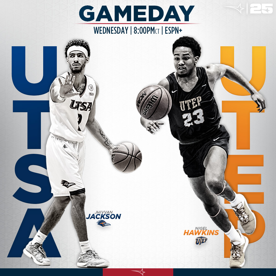 Weve got a fun one in store tonight on ESPN+! @UTSAMBB 🆚 @UTEP_MBB ⏰ >> 7:00 pm MT // 8:00 pm CT