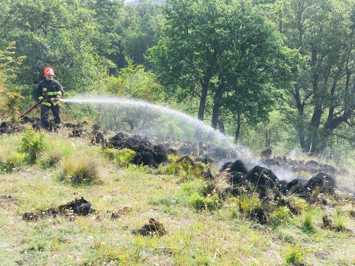 Trabajo de Bomberos después de incendios provocados por Carabineros en Lonquimay