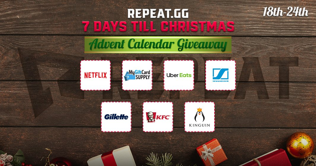 REMINDER: We've posted the winners of our 7 Days Till Christmas Giveaways on our blog --> https://bit.ly/2TCJMR5  If you're one of the lucky winners, let us know the email you used to sign up on gleam by replying or sending an email to support@repeat.gg. Cheers!