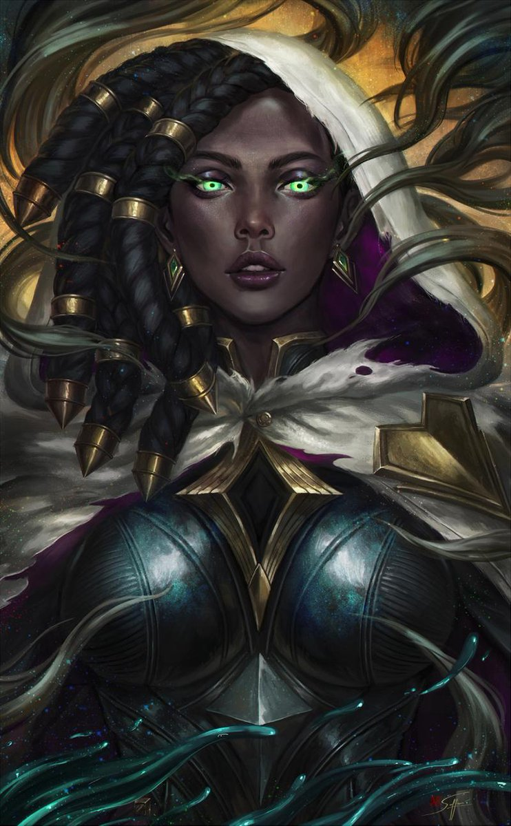"""A focus on texture shines through in this digital portrait, with leather, metal, and cloth all receiving unique attention.  Check out """"Senna"""" by @kelpo_cereal: http://bit.ly/373gOO8  @LeagueOfLegends #Senna #LoLArt pic.twitter.com/FlBGC4dRMa"""