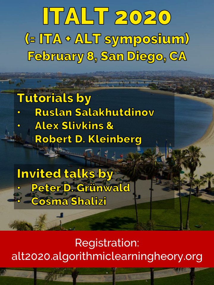 ALT 2020, the 31st International Conference on Algorithmic Learning Theory Registration, Sat, Feb 8, 2020 at 8:00 AM | Eventbrite