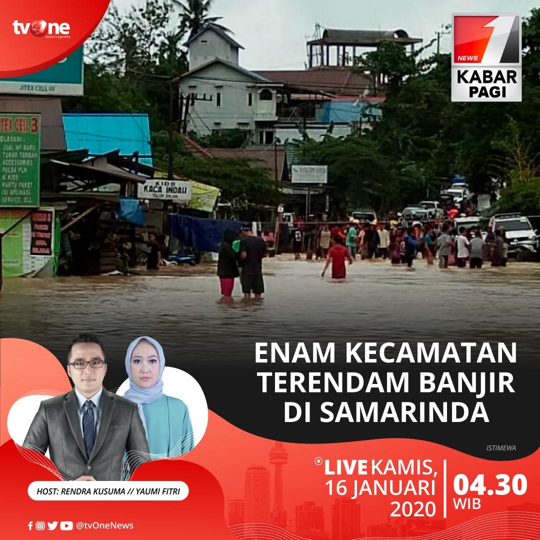 Enam kecamatan terendam banjir di Samarinda.Saksikan Kabar Pagi jam 04.30 WIB hanya di tvOne & streaming di tvOne Connect, android http://bit.ly/2CMmL5z & ios http://apple.co/2Q00Mfc #KabarPagitvOne