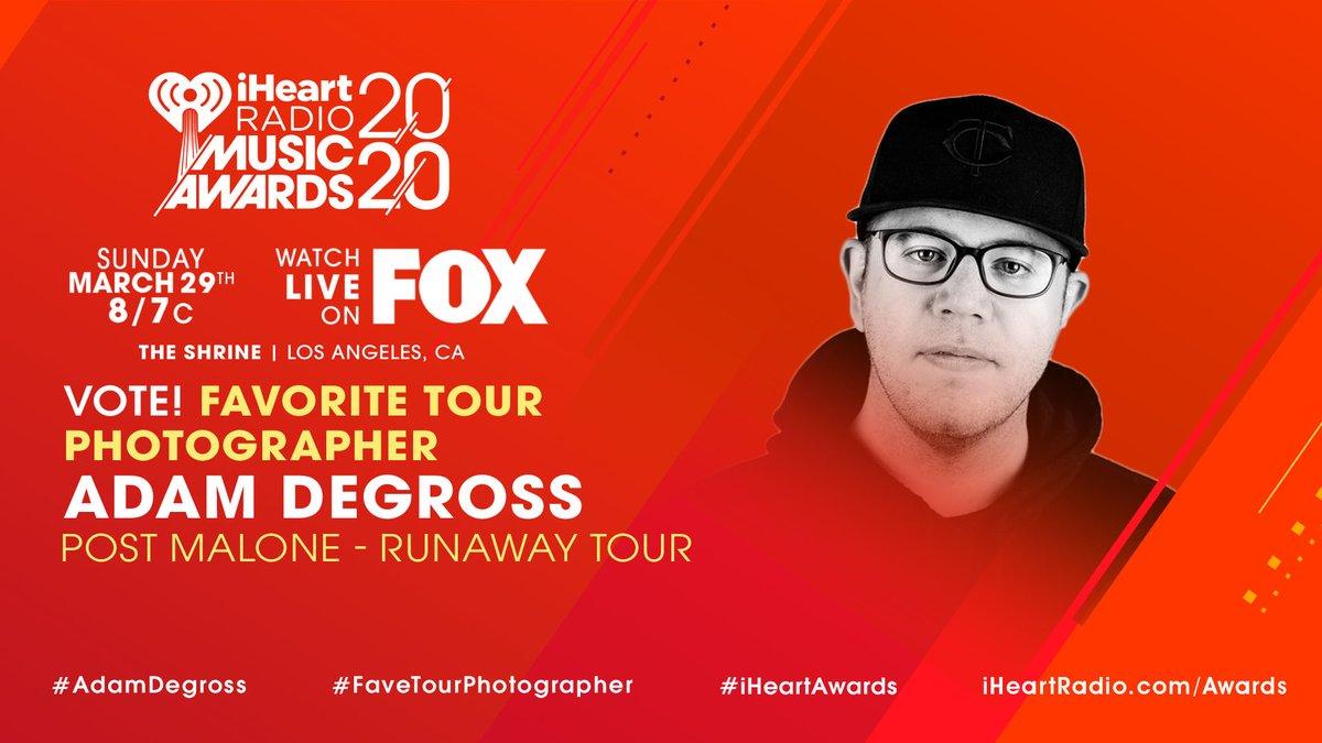 📷 Adam Degross x @PostMalone 📷 #AdamDegross #FaveTourPhotographer #iHeartAwards iHeartRadio.com/Awards
