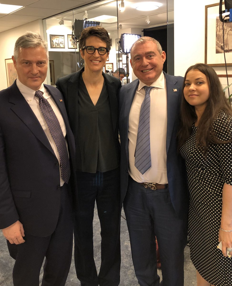 Just finished taping our first live interview, with Rachel Maddow. (L to R, @josephabondy, @maddow, Lev Parnas, Stephanie Schuman, Esq. @LeafLegal). Tune in this evening, at 9:00pm. #LetLevSpeak #LevRemembers
