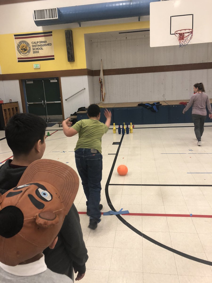 Practicing bowling in adaptive PE 😃