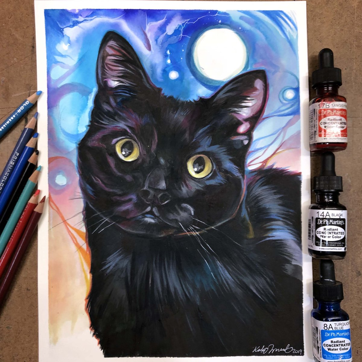 Day 15: Guen   A gorgeous black kitty is today's upload! . . . . #petportrait #watercolor #colorful #cat #illustration #coloredpencilpic.twitter.com/z7jLP23VJi