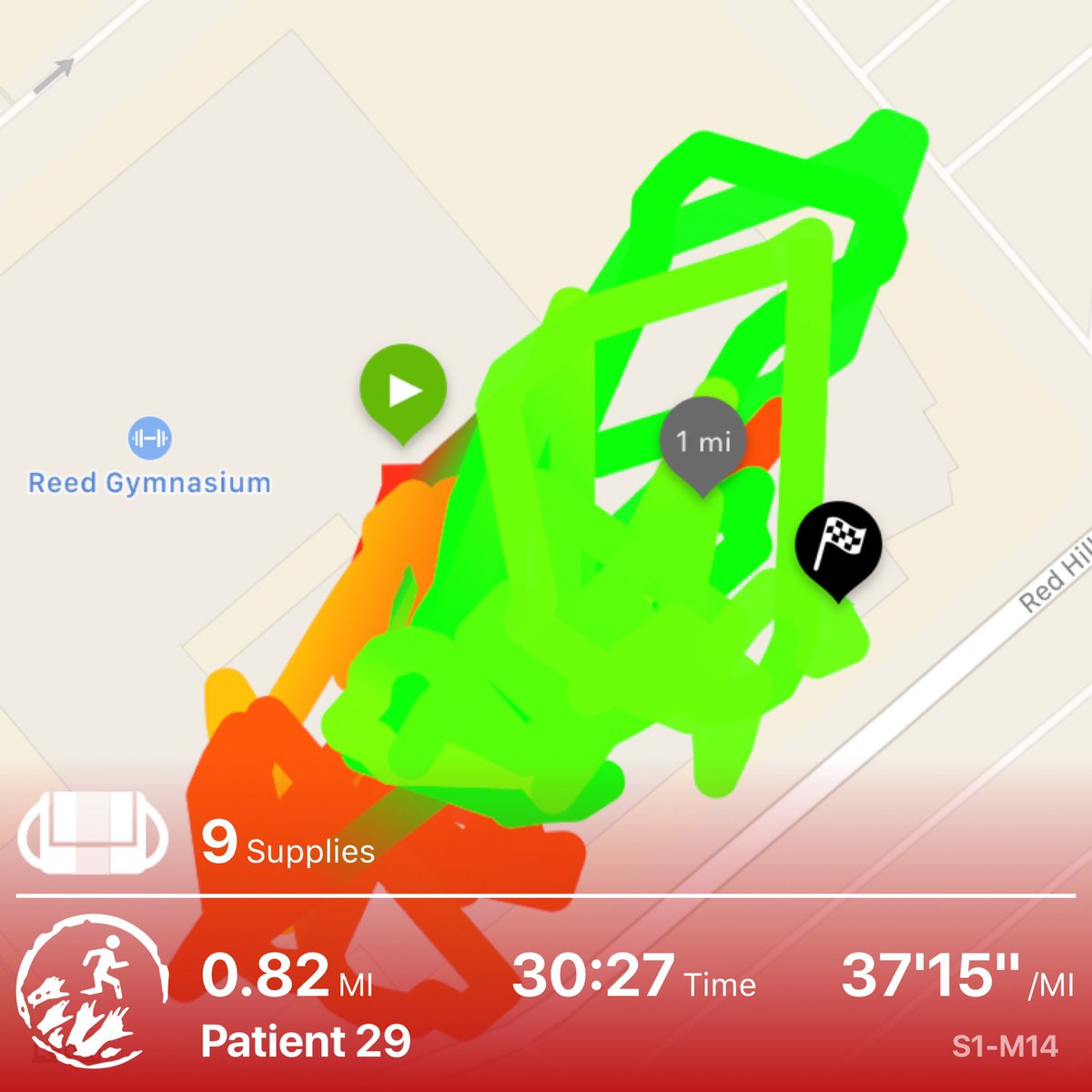 That pace is a lie. I was inside and it blocked my GPS. I did 30/60s today. Discovered evidence about the zombie plague outbreak - and much more... #zombiesrun <br>http://pic.twitter.com/eMHCk8eblL