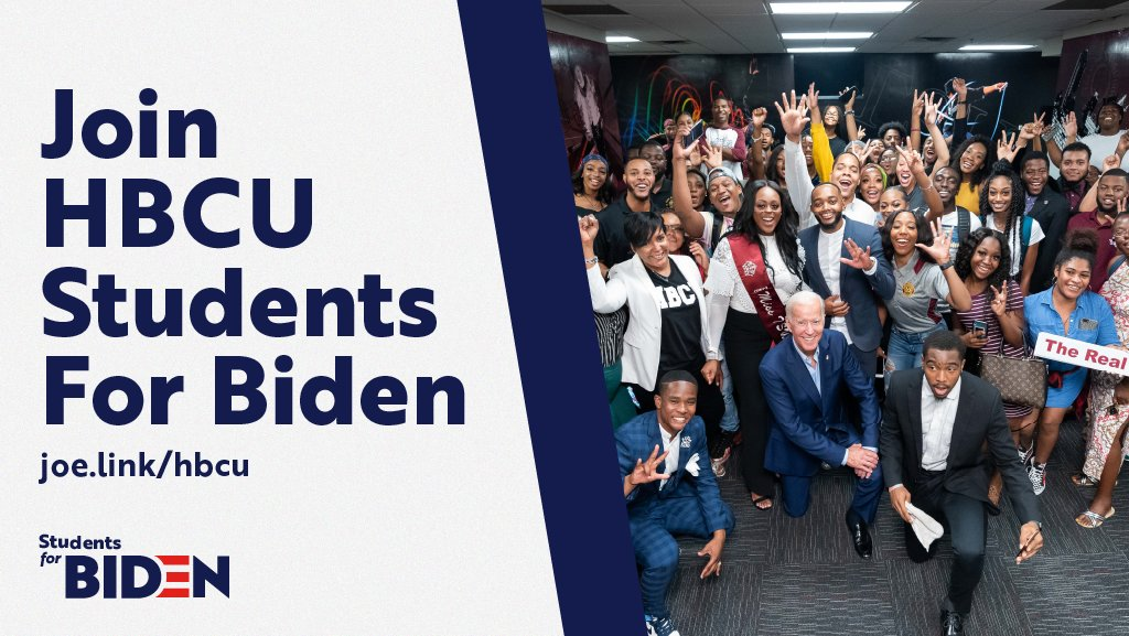 I'm proud that today, our campaign is launching HBCU Students for Biden. This program will be dedicated to helping HBCU students throughout the country learn how to organize for our campaign.   Sign up here:  https:// joe.link/hbcu    <br>http://pic.twitter.com/blPhAsMK1m