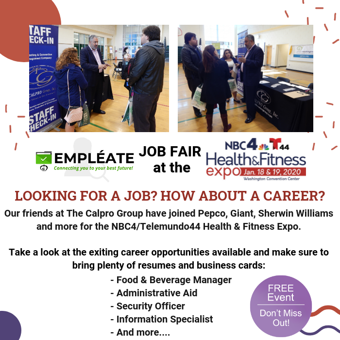 #GWHCC is excited to have its #Empleate Job Fair at the upcoming @nbcwashington and @Telemundo44 Health & Fitness Expo. Take a look at the exciting career opportunities being offered by one of our exhibitors @thecalprogroup.  Bring your resumes! http://ow.ly/2AMS50xWsb6pic.twitter.com/qlhJel72pS