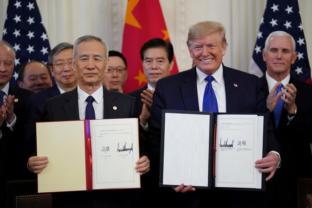 U.S., China tiptoe around holes in new trade agreement https://reut.rs/2QWueWf  Factbox: What's in the U.S.-China Phase 1 trade deal https://reut.rs/2FVekFu  @Reuters #USChinaTradeDeal #tradedeal #China #US