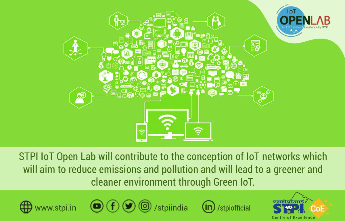 Green networks in #IoT will reduce pollution & drive environmental conservation while improvising surveillance & reducing operational costs. Are you ready to transform your idea into path-breaking products in #IoT? Apply now:  http:// iotopenlab.stpi.in/index.php/auto    . #STPIIoTOpenLab #STPICoEs<br>http://pic.twitter.com/8b0frJVDMA