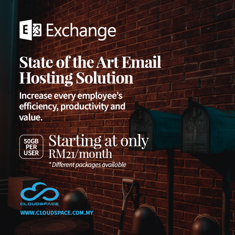 HOSTED MICROSOFT EXCHANGE  Get More Done, Anywhere You Are!  Contact us today for a 100% free consultation. +603 7890 4100 / 4111 - info@cloudspace.com.my https://www.cloudspace.com.my/  #microsoftexchange #emailsolutions #exchangeemail #hostedmicrosoftexchange #hostedexchangeserverpic.twitter.com/cKUpnLKlFM