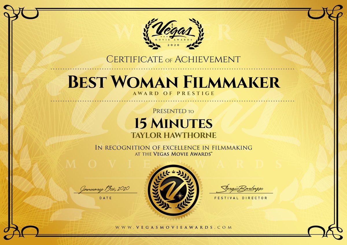 #Grateful!  #AwardOfPrestige from @VegasMovie! #Proud #15MinutesShort #TheLittleShortThatCould #ProducerLife  #filmmakerslife #cinematography #femalefilmmaker #filmmakinglife #indiefilmmaker #filmdirector  #indiefilm #filmmakersworld #filmlife #independentfilmmakerpic.twitter.com/duv5P7MACh