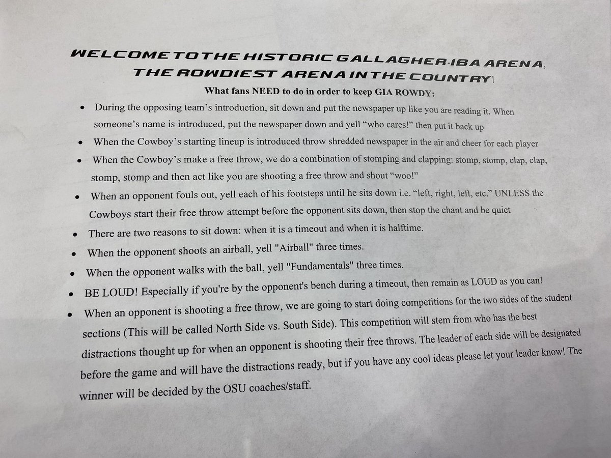 This was passed to #OKState students tonight ahead of the Cowboys playing Texas. <br>http://pic.twitter.com/OoF0rYpJmm
