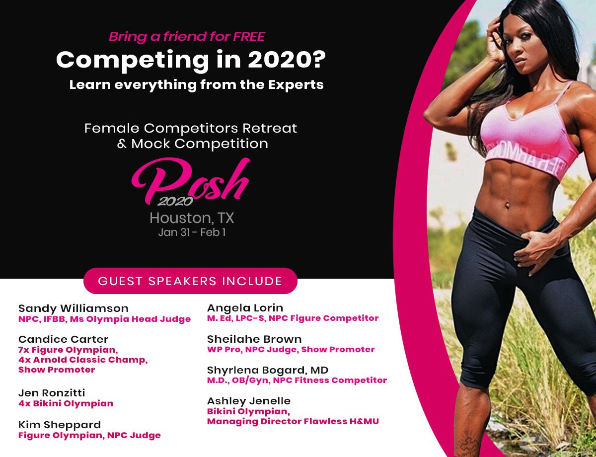 NPC LADIES - if you're thinking about competing or currently competing - You need to be at this Retreat.   Downtown Houston 1/31-2/1.   It's BOGO registration until 1/23-limited searing so hurry and register!  #bodybuilding #NPC #ifbb #Competitionpic.twitter.com/DWVqHb1EpI