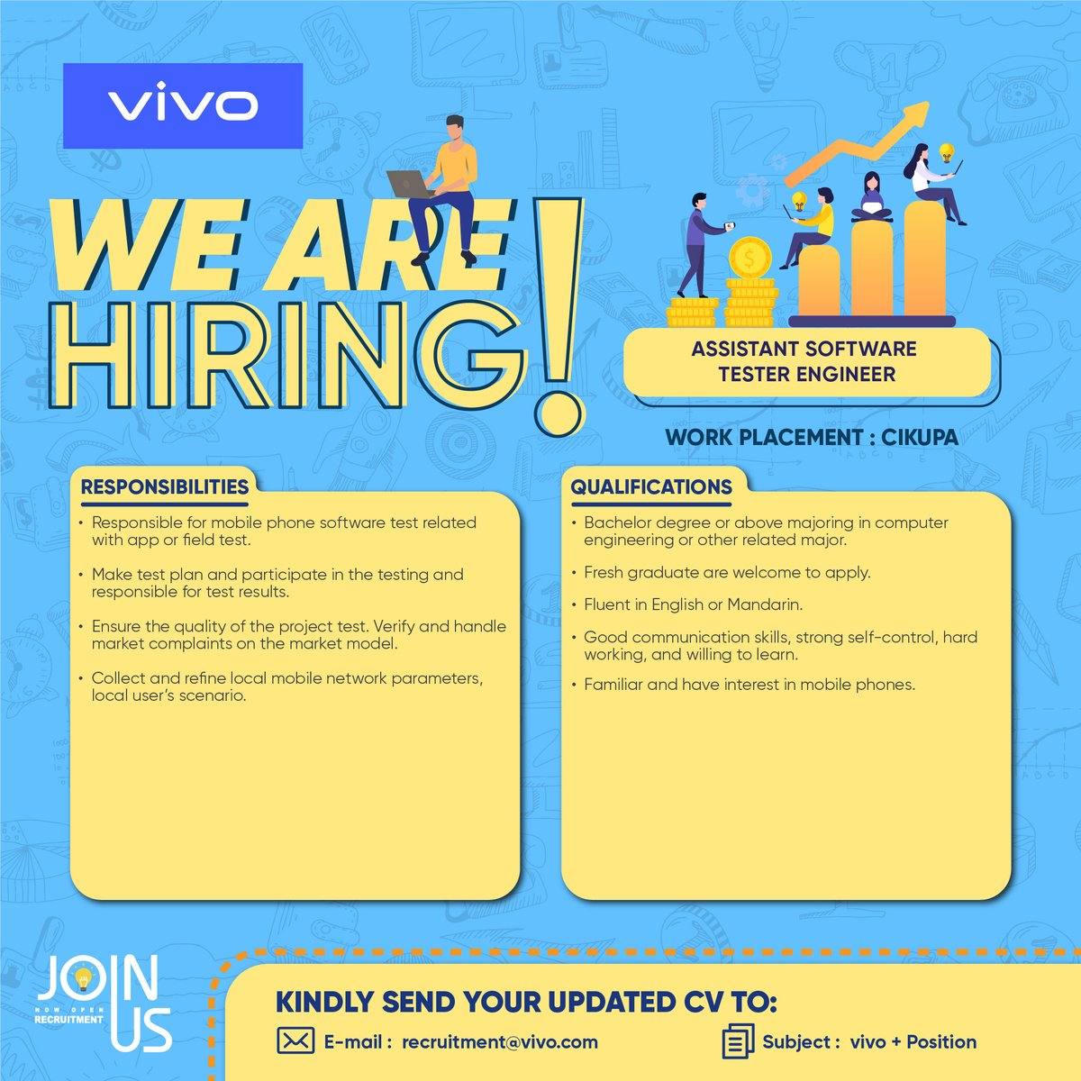 Cdc Unpar On Twitter Job Vacancies Pt Vivo Mobile Indonesia Is Now Hiring For 1 Logistics Staff 2 Assistant Software Tester Engineer 3 Mandarin Interpreter Interested See Poster Below For Further