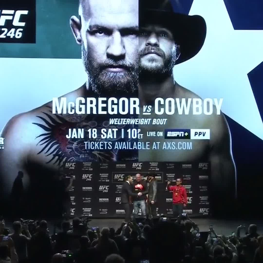 THE FIRST FACE-OFF! 🗣  🇮🇪 @TheNotoriousMMA vs 🇺🇸 @CowboyCerrone  Get the ESPN+ PPV ➡️ https://bit.ly/2NcYvOn  #UFC246