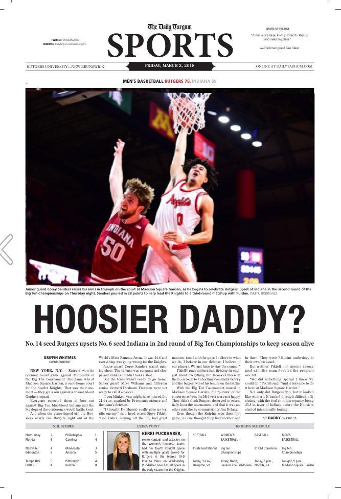 BREAKING: Early look at tomorrow's @daily_targum cover @Geo_Baker_1 @RutgersMBB